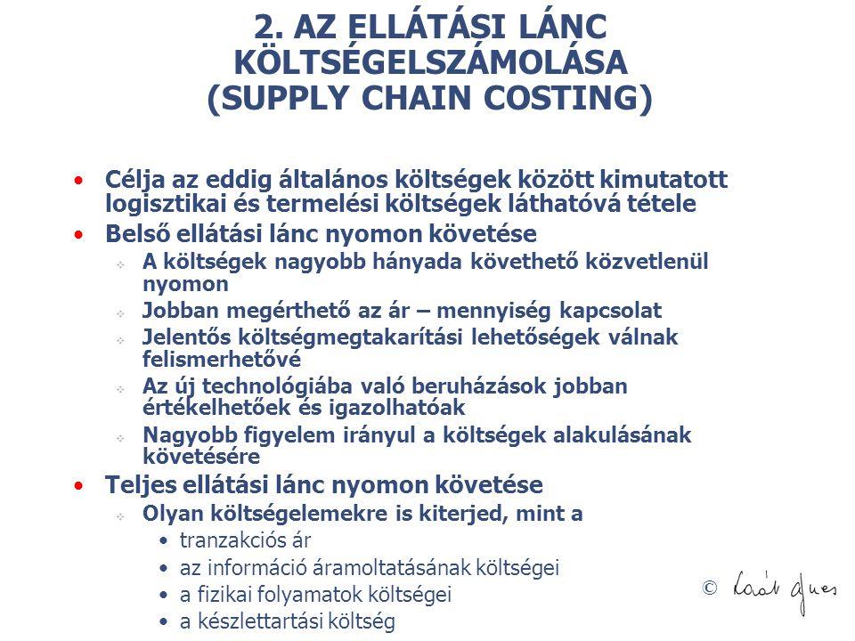 © 2. AZ ELLÁTÁSI LÁNC KÖLTSÉGELSZÁMOLÁSA (SUPPLY CHAIN COSTING) Célja az eddig általános költségek között kimutatott logisztikai és termelési költsége