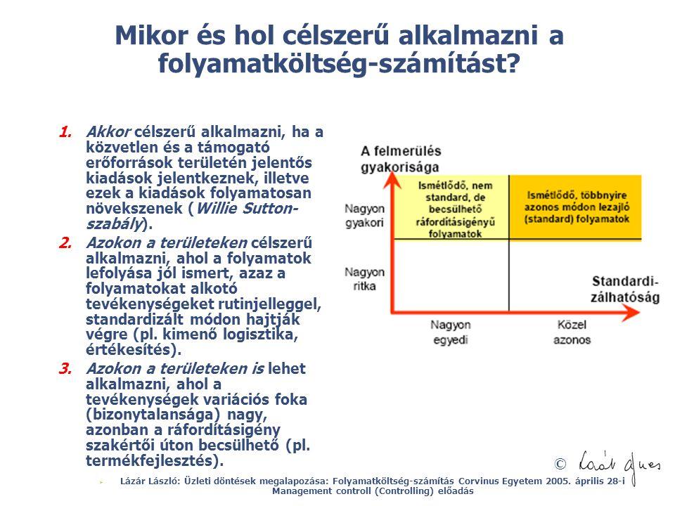© Mikor és hol célszerű alkalmazni a folyamatköltség-számítást? 1.Akkor célszerű alkalmazni, ha a közvetlen és a támogató erőforrások területén jelent