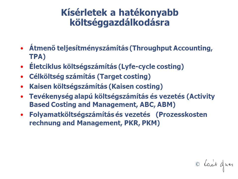 © Kísérletek a hatékonyabb költséggazdálkodásra Átmenő teljesítményszámítás (Throughput Accounting, TPA) Életciklus költségszámítás (Lyfe-cycle costin