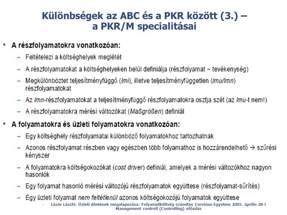 © Különbségek az ABC és a PKR között (3.) – a PKR/M specialitásai  Lázár László: Üzleti döntések megalapozása: Folyamatköltség-számítás Corvinus Egye