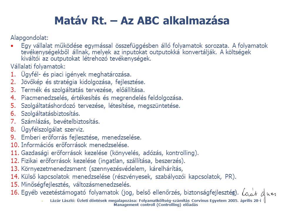 © Matáv Rt. – Az ABC alkalmazása Alapgondolat: Egy vállalat működése egymással összefüggésben álló folyamatok sorozata. A folyamatok tevékenységekből