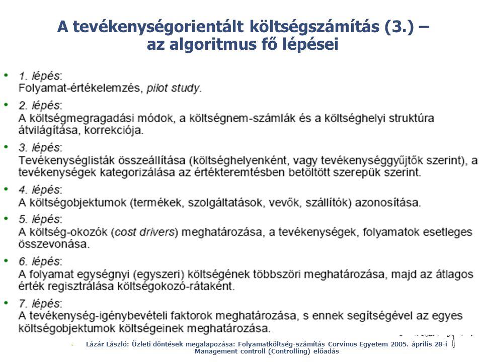 © A tevékenységorientált költségszámítás (3.) – az algoritmus fő lépései  Lázár László: Üzleti döntések megalapozása: Folyamatköltség-számítás Corvin