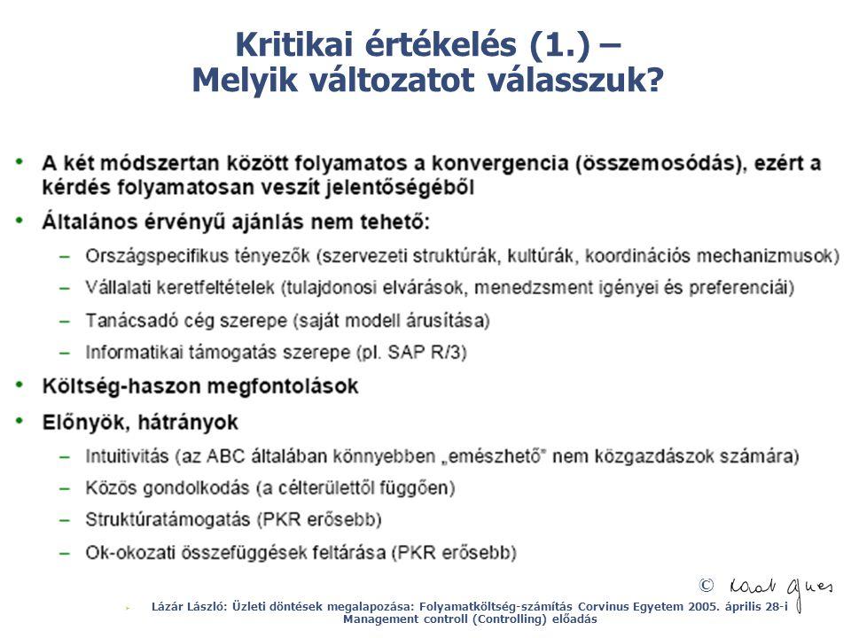 © Kritikai értékelés (1.) – Melyik változatot válasszuk?  Lázár László: Üzleti döntések megalapozása: Folyamatköltség-számítás Corvinus Egyetem 2005.