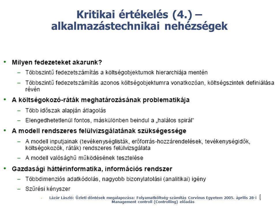 © Kritikai értékelés (4.) – alkalmazástechnikai nehézségek  Lázár László: Üzleti döntések megalapozása: Folyamatköltség-számítás Corvinus Egyetem 200