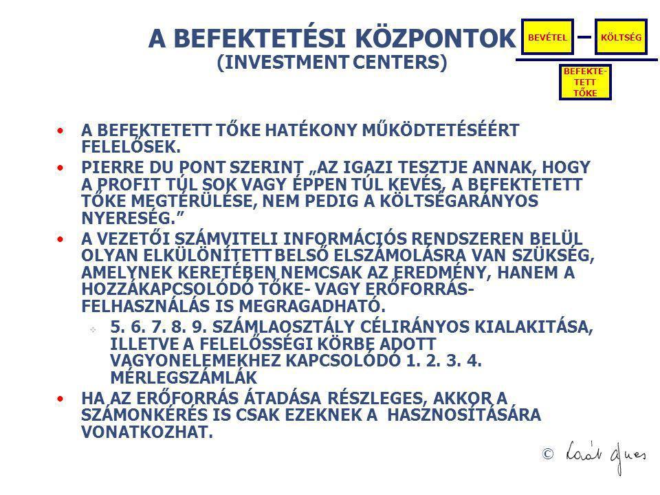 """© A BEFEKTETÉSI KÖZPONTOK (INVESTMENT CENTERS) A BEFEKTETETT TŐKE HATÉKONY MŰKÖDTETÉSÉÉRT FELELŐSEK. PIERRE DU PONT SZERINT """"AZ IGAZI TESZTJE ANNAK, H"""
