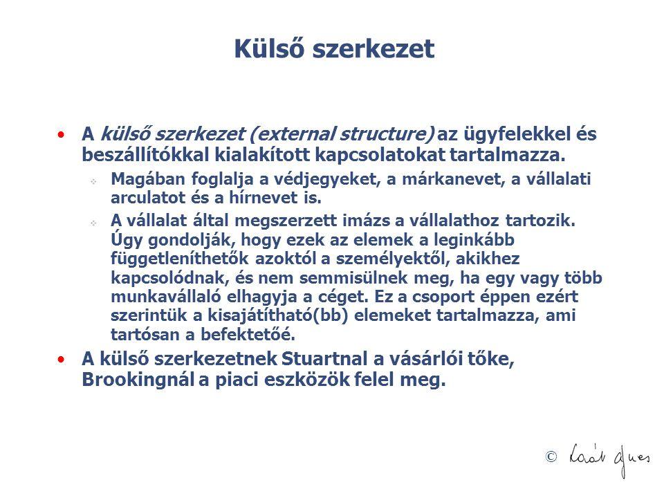 © Külső szerkezet A külső szerkezet (external structure) az ügyfelekkel és beszállítókkal kialakított kapcsolatokat tartalmazza.