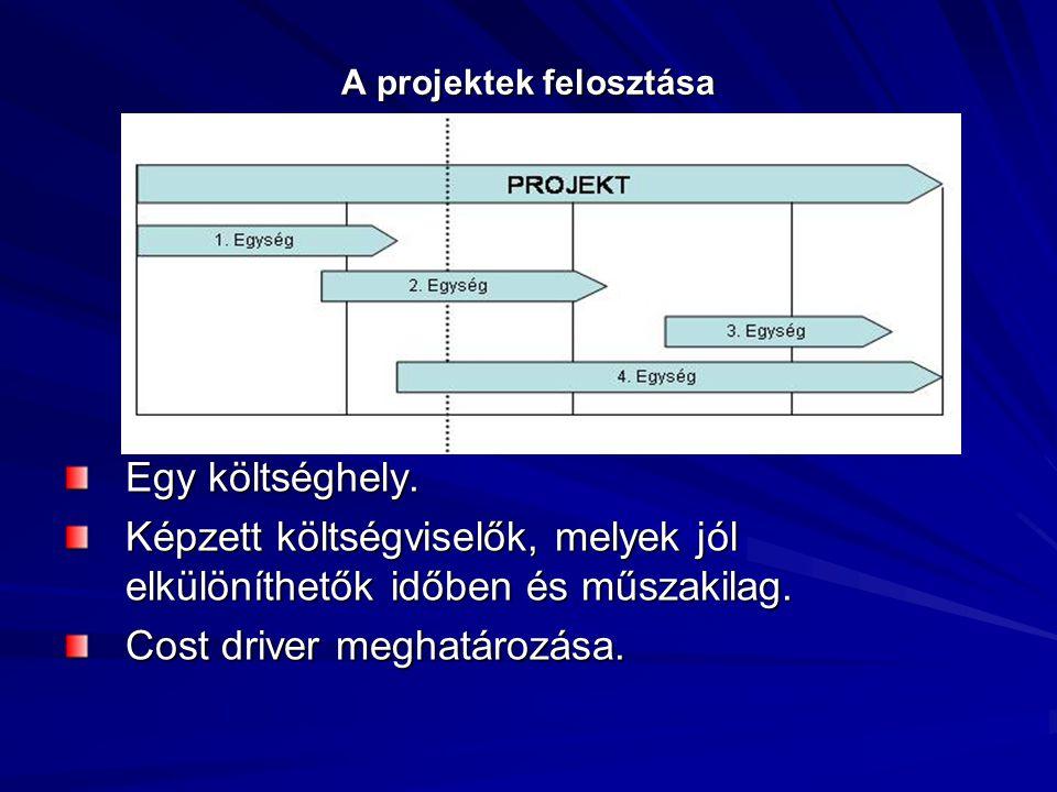 A projektek felosztása Egy költséghely. Képzett költségviselők, melyek jól elkülöníthetők időben és műszakilag. Cost driver meghatározása.