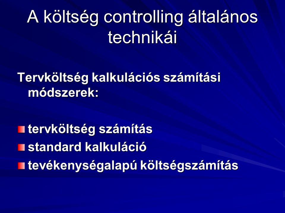 A költség controlling általános technikái Tervköltség kalkulációs számítási módszerek: tervköltség számítás standard kalkuláció tevékenységalapú költs