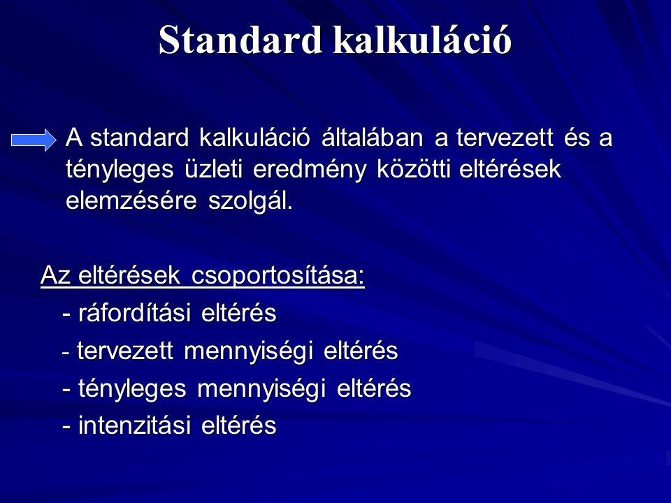 Standard kalkuláció A standard kalkuláció általában a tervezett és a tényleges üzleti eredmény közötti eltérések elemzésére szolgál. Az eltérések csop