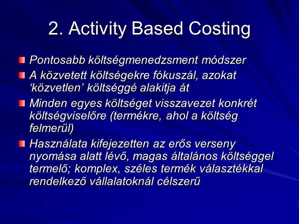 2. Activity Based Costing Pontosabb költségmenedzsment módszer A közvetett költségekre fókuszál, azokat 'közvetlen' költséggé alakitja át Minden egyes