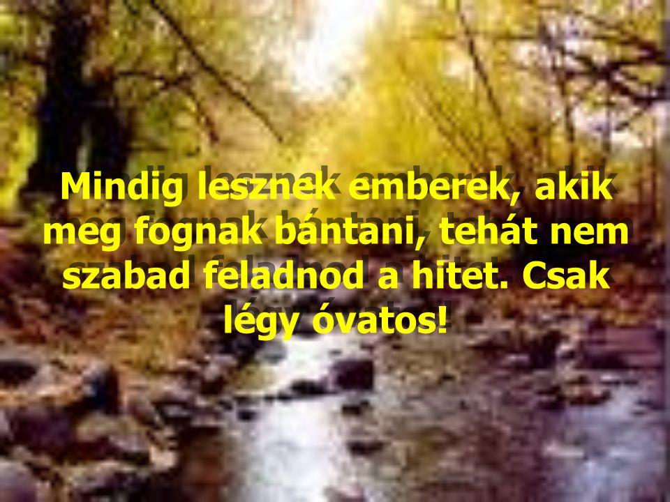 Mindig lesznek emberek, akik meg fognak bántani, tehát nem szabad feladnod a hitet. Csak légy óvatos!