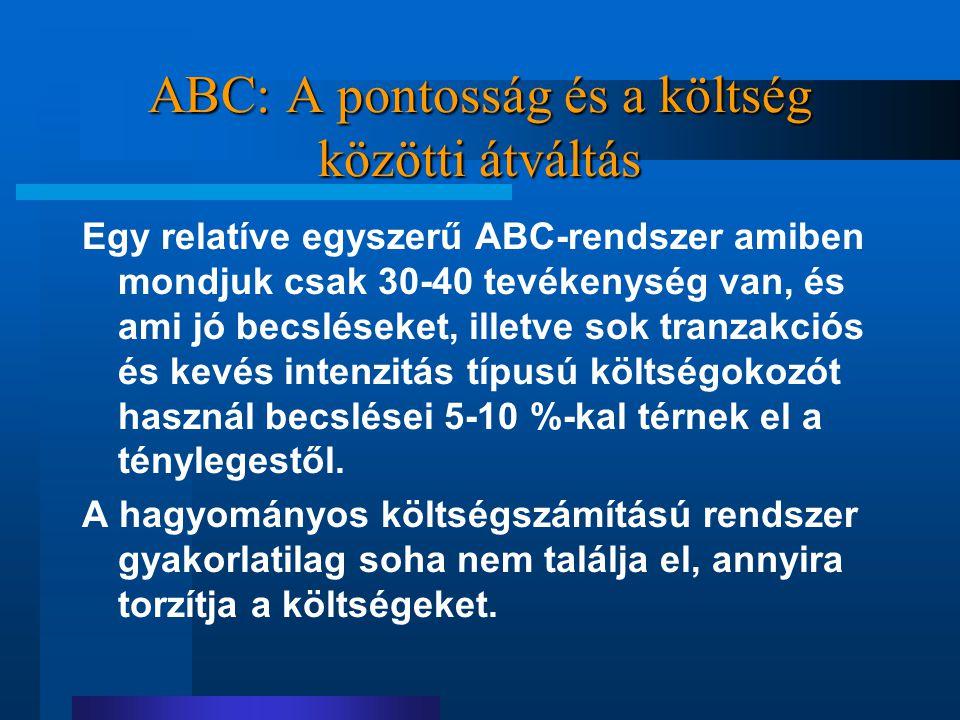 ABC: A pontosság és a költség közötti átváltás Egy relatíve egyszerű ABC-rendszer amiben mondjuk csak 30-40 tevékenység van, és ami jó becsléseket, il