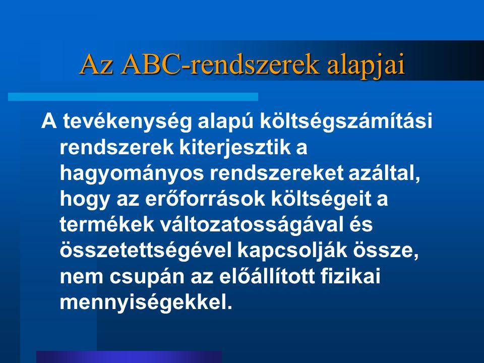 Az ABC-rendszerek alapjai A tevékenység alapú költségszámítási rendszerek kiterjesztik a hagyományos rendszereket azáltal, hogy az erőforrások költség