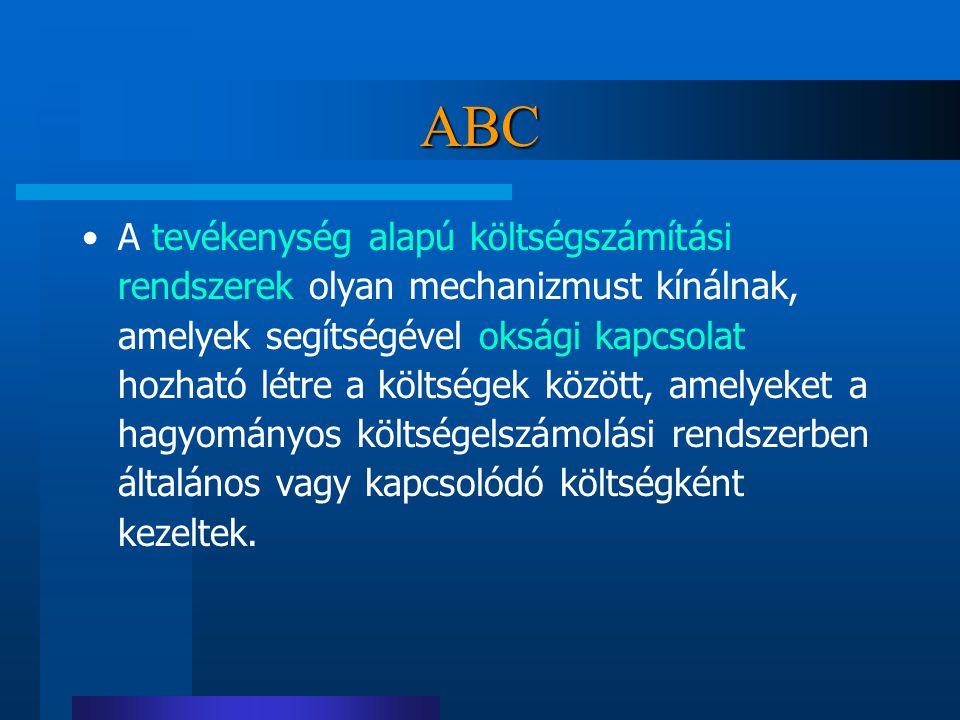 ABC A tevékenység alapú költségszámítási rendszerek olyan mechanizmust kínálnak, amelyek segítségével oksági kapcsolat hozható létre a költségek közöt
