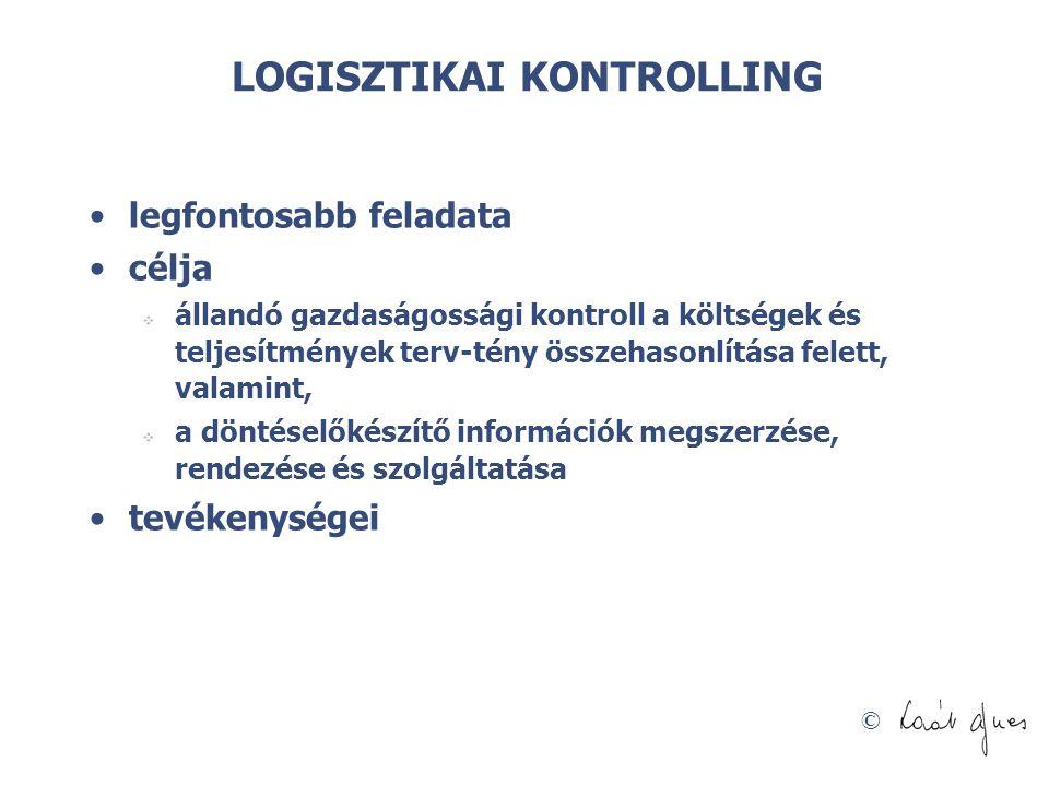 © LOGISZTIKAI KONTROLLING legfontosabb feladata célja  állandó gazdaságossági kontroll a költségek és teljesítmények terv-tény összehasonlítása felet