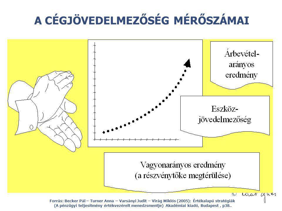 © A CÉGJÖVEDELMEZŐSÉG MÉRŐSZÁMAI Forrás: Becker Pál – Turner Anna – Varsányi Judit – Virág Miklós (2005): Értékalapú stratégiák (A pénzügyi teljesítmé