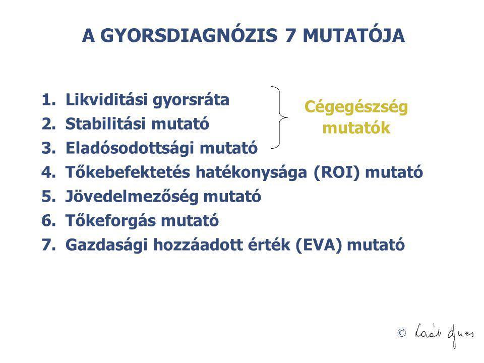 © A GYORSDIAGNÓZIS 7 MUTATÓJA 1.Likviditási gyorsráta 2.Stabilitási mutató 3.Eladósodottsági mutató 4.Tőkebefektetés hatékonysága (ROI) mutató 5.Jöved