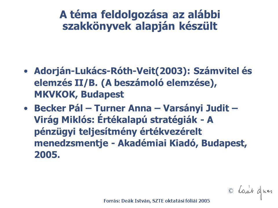 © A téma feldolgozása az alábbi szakkönyvek alapján készült Adorján-Lukács-Róth-Veit(2003): Számvitel és elemzés II/B. (A beszámoló elemzése), MKVKOK,