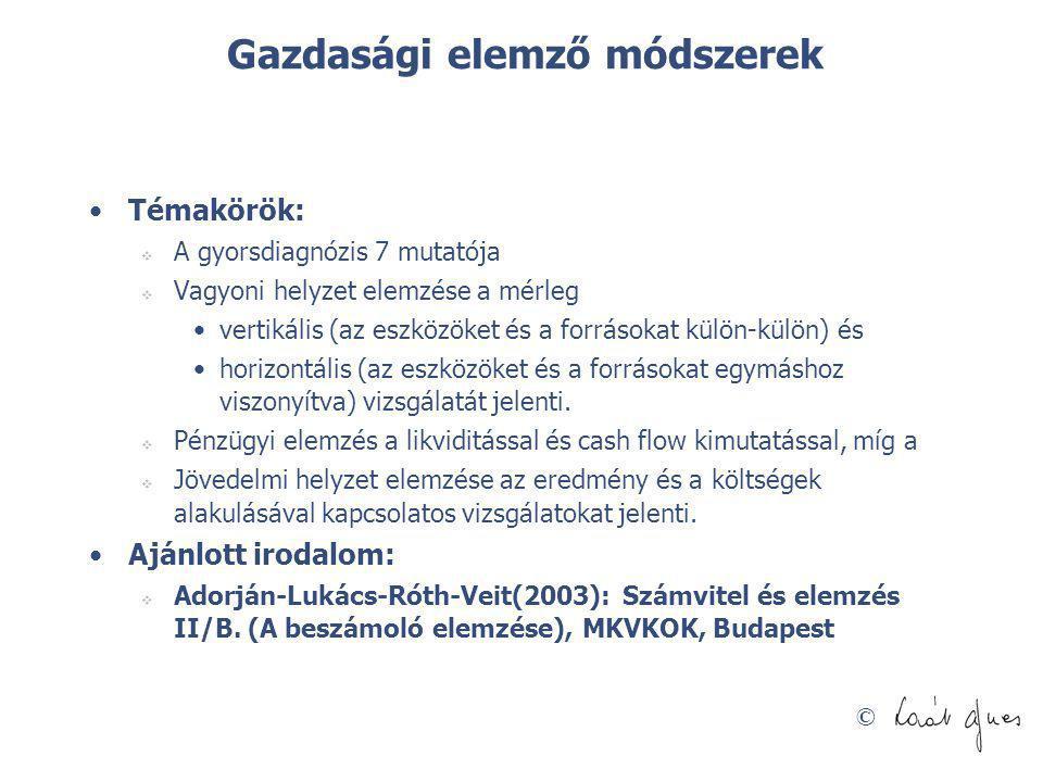 © A gazdasági elemzések csoportosítása 1.