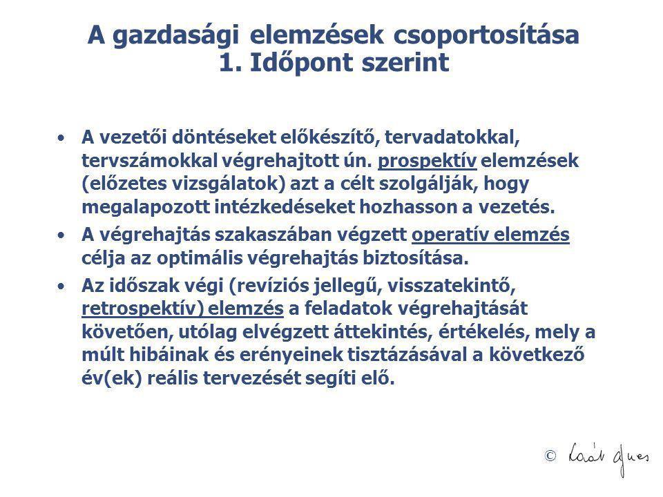 © A gazdasági elemzések csoportosítása 1. Időpont szerint A vezetői döntéseket előkészítő, tervadatokkal, tervszámokkal végrehajtott ún. prospektív el