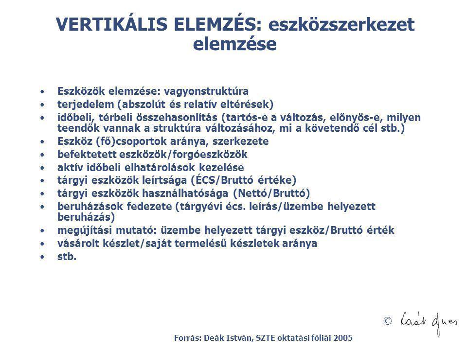 © VERTIKÁLIS ELEMZÉS: eszközszerkezet elemzése Eszközök elemzése: vagyonstruktúra terjedelem (abszolút és relatív eltérések) időbeli, térbeli összehas