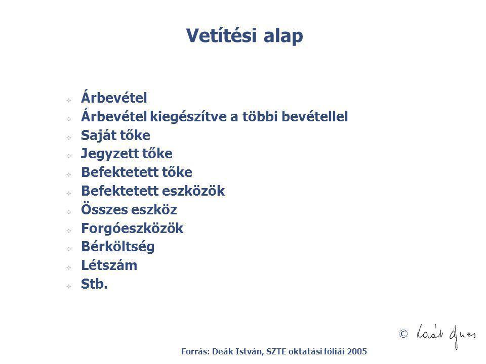 © Vetítési alap  Árbevétel  Árbevétel kiegészítve a többi bevétellel  Saját tőke  Jegyzett tőke  Befektetett tőke  Befektetett eszközök  Összes