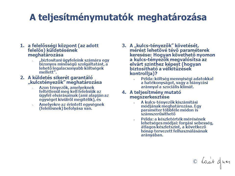 """© A teljesítménymutatók meghatározása 1.a felelősségi központ (az adott felelős) küldetésének meghatározása 1. """"biztosítani ügyfeleink számára egy biz"""