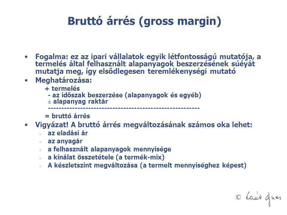 © Bruttó árrés (gross margin) Fogalma: ez az ipari vállalatok egyik létfontosságú mutatója, a termelés által felhasznált alapanyagok beszerzésének súé