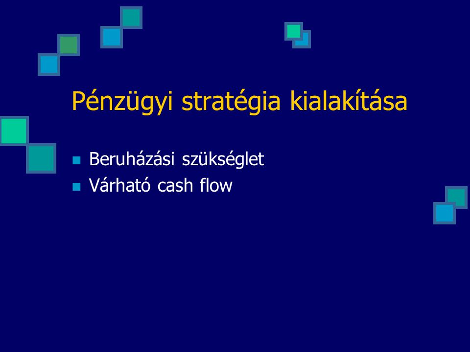 Pénzügyi stratégia kialakítása Beruházási szükséglet Várható cash flow