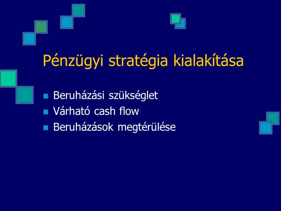 Pénzügyi stratégia kialakítása Beruházási szükséglet Várható cash flow Beruházások megtérülése
