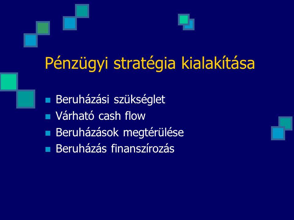 Pénzügyi stratégia kialakítása Beruházási szükséglet Várható cash flow Beruházások megtérülése Beruházás finanszírozás