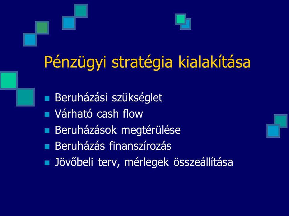 Pénzügyi stratégia kialakítása Beruházási szükséglet Várható cash flow Beruházások megtérülése Beruházás finanszírozás Jövőbeli terv, mérlegek összeállítása