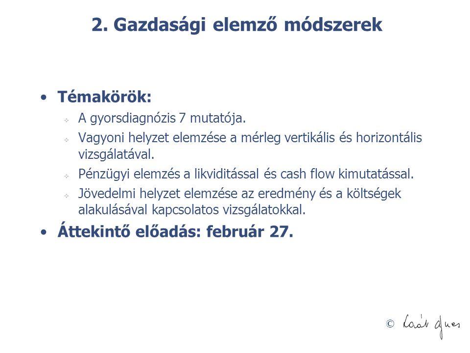© 2. Gazdasági elemző módszerek Témakörök:  A gyorsdiagnózis 7 mutatója.  Vagyoni helyzet elemzése a mérleg vertikális és horizontális vizsgálatával