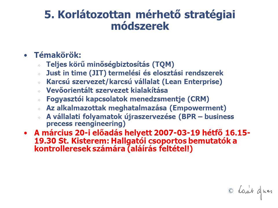© 5. Korlátozottan mérhető stratégiai módszerek Témakörök:  Teljes körű minőségbiztosítás (TQM)  Just in time (JIT) termelési és elosztási rendszere