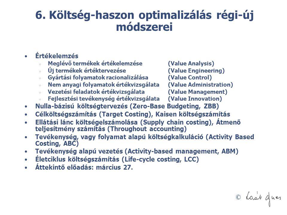 © 6. Költség-haszon optimalizálás régi-új módszerei Értékelemzés  Meglévő termékek értékelemzése (Value Analysis)  Új termékek értéktervezése (Value