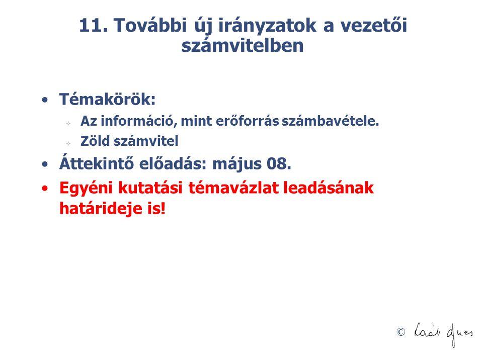 © 11. További új irányzatok a vezetői számvitelben Témakörök:  Az információ, mint erőforrás számbavétele.  Zöld számvitel Áttekintő előadás: május