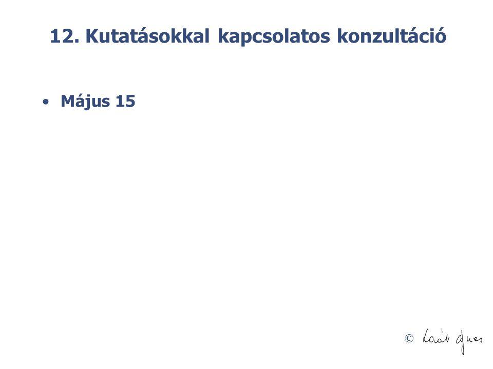 © 12. Kutatásokkal kapcsolatos konzultáció Május 15