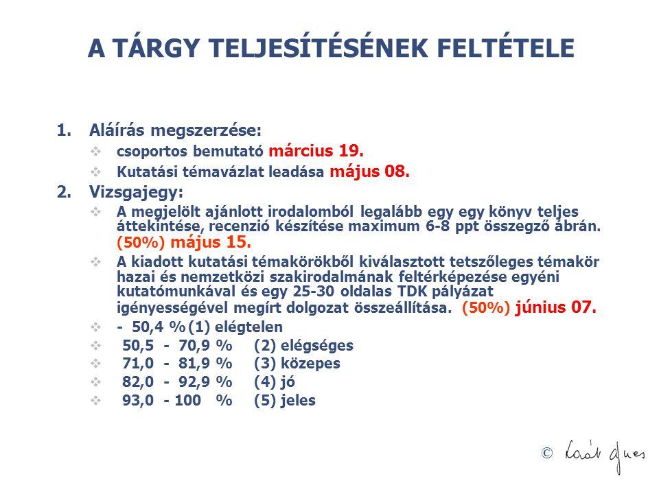 © A TÁRGY TELJESÍTÉSÉNEK FELTÉTELE 1.Aláírás megszerzése:  csoportos bemutató március 19.  Kutatási témavázlat leadása május 08. 2.Vizsgajegy:  A m