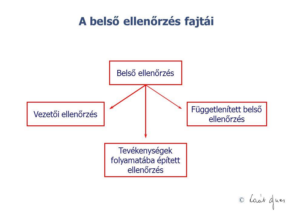 © Belső ellenőrzés Vezetői ellenőrzés Tevékenységek folyamatába épített ellenőrzés Függetlenített belső ellenőrzés A belső ellenőrzés fajtái