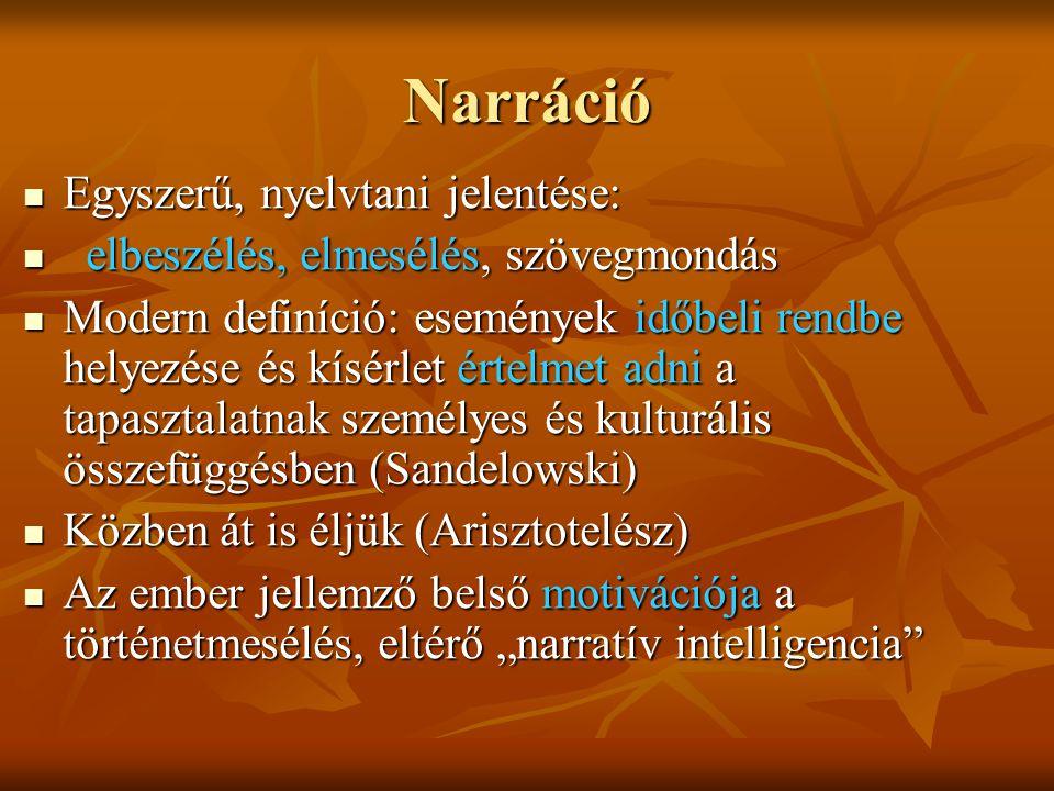 """Narráció Egyszerű, nyelvtani jelentése: Egyszerű, nyelvtani jelentése: elbeszélés, elmesélés, szövegmondás elbeszélés, elmesélés, szövegmondás Modern definíció: események időbeli rendbe helyezése és kísérlet értelmet adni a tapasztalatnak személyes és kulturális összefüggésben (Sandelowski) Modern definíció: események időbeli rendbe helyezése és kísérlet értelmet adni a tapasztalatnak személyes és kulturális összefüggésben (Sandelowski) Közben át is éljük (Arisztotelész) Közben át is éljük (Arisztotelész) Az ember jellemző belső motivációja a történetmesélés, eltérő """"narratív intelligencia Az ember jellemző belső motivációja a történetmesélés, eltérő """"narratív intelligencia"""