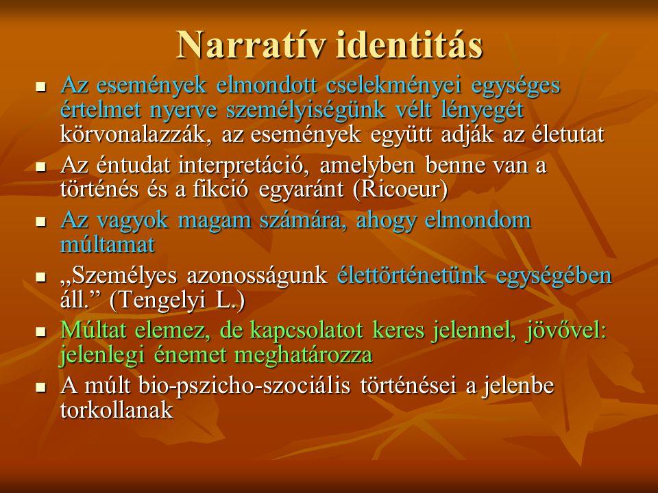 """Narratív identitás Az események elmondott cselekményei egységes értelmet nyerve személyiségünk vélt lényegét körvonalazzák, az események együtt adják az életutat Az események elmondott cselekményei egységes értelmet nyerve személyiségünk vélt lényegét körvonalazzák, az események együtt adják az életutat Az éntudat interpretáció, amelyben benne van a történés és a fikció egyaránt (Ricoeur) Az éntudat interpretáció, amelyben benne van a történés és a fikció egyaránt (Ricoeur) Az vagyok magam számára, ahogy elmondom múltamat Az vagyok magam számára, ahogy elmondom múltamat """"Személyes azonosságunk élettörténetünk egységében áll. (Tengelyi L.) """"Személyes azonosságunk élettörténetünk egységében áll. (Tengelyi L.) Múltat elemez, de kapcsolatot keres jelennel, jövővel: jelenlegi énemet meghatározza Múltat elemez, de kapcsolatot keres jelennel, jövővel: jelenlegi énemet meghatározza A múlt bio-pszicho-szociális történései a jelenbe torkollanak A múlt bio-pszicho-szociális történései a jelenbe torkollanak"""