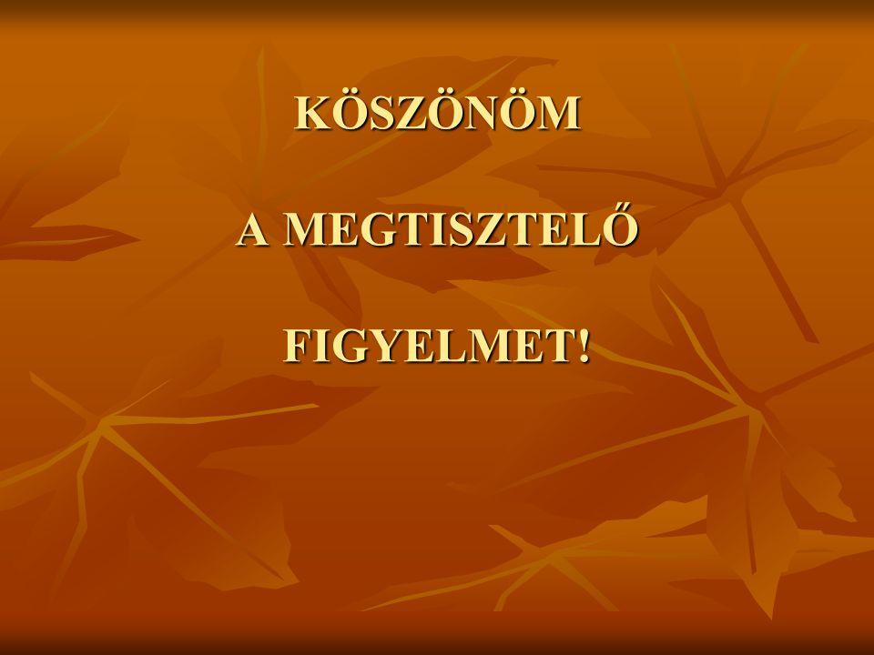 KÖSZÖNÖM A MEGTISZTELŐ FIGYELMET!