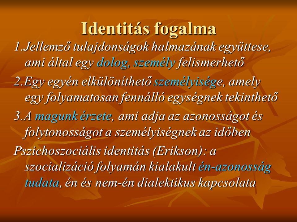 Identitás fogalma 1.Jellemző tulajdonságok halmazának együttese, ami által egy dolog, személy felismerhető 2.Egy egyén elkülöníthető személyisége, amely egy folyamatosan fennálló egységnek tekinthető 3.A magunk érzete, ami adja az azonosságot és folytonosságot a személyiségnek az időben Pszichoszociális identitás (Erikson): a szocializáció folyamán kialakult én-azonosság tudata, én és nem-én dialektikus kapcsolata