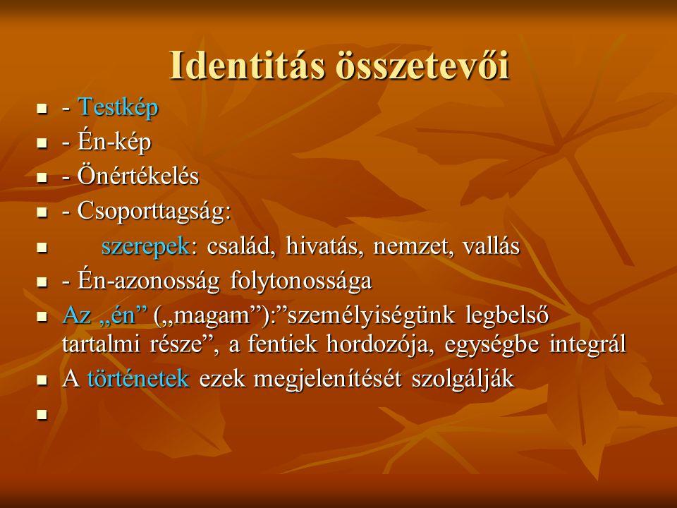 """Identitás összetevői - Testkép - Testkép - Én-kép - Én-kép - Önértékelés - Önértékelés - Csoporttagság: - Csoporttagság: szerepek: család, hivatás, nemzet, vallás szerepek: család, hivatás, nemzet, vallás - Én-azonosság folytonossága - Én-azonosság folytonossága Az """"én (""""magam ): személyiségünk legbelső tartalmi része , a fentiek hordozója, egységbe integrál Az """"én (""""magam ): személyiségünk legbelső tartalmi része , a fentiek hordozója, egységbe integrál A történetek ezek megjelenítését szolgálják A történetek ezek megjelenítését szolgálják"""