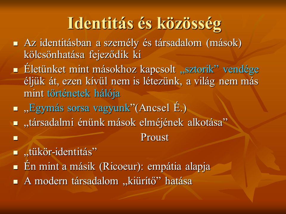 Identitás és közösség Az identitásban a személy és társadalom (mások) kölcsönhatása fejeződik ki Az identitásban a személy és társadalom (mások) kölcs