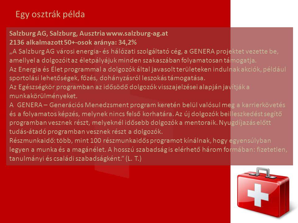 """Egy osztrák példa Salzburg AG, Salzburg, Ausztria www.salzburg-ag.at 2136 alkalmazott 50+-osok aránya: 34,2% """"A Salzburg AG városi energia- és hálózat"""