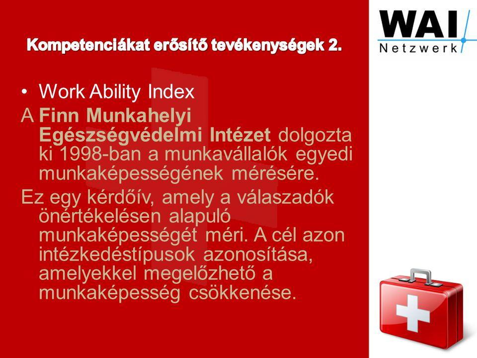 Work Ability Index A Finn Munkahelyi Egészségvédelmi Intézet dolgozta ki 1998-ban a munkavállalók egyedi munkaképességének mérésére. Ez egy kérdőív, a