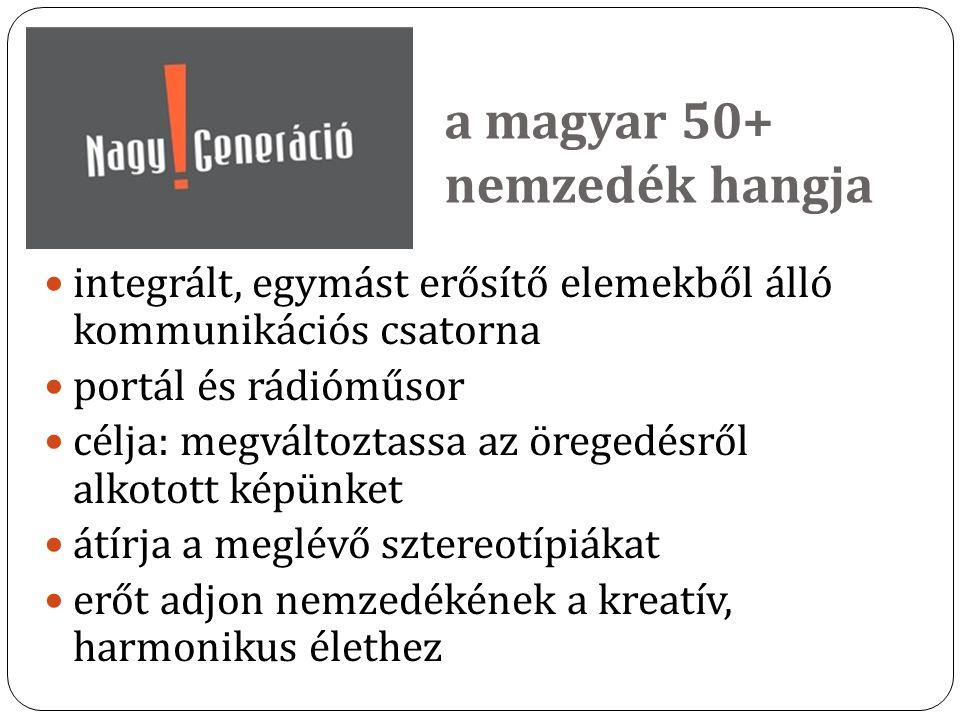 a magyar 50+ nemzedék hangja integrált, egymást erősítő elemekből álló kommunikációs csatorna portál és rádióműsor célja: megváltoztassa az öregedésrő