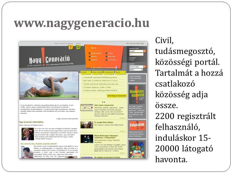 www.nagygeneracio.hu Civil, tudásmegosztó, közösségi portál. Tartalmát a hozzá csatlakozó közösség adja össze. 2200 regisztrált felhasználó, indulásko