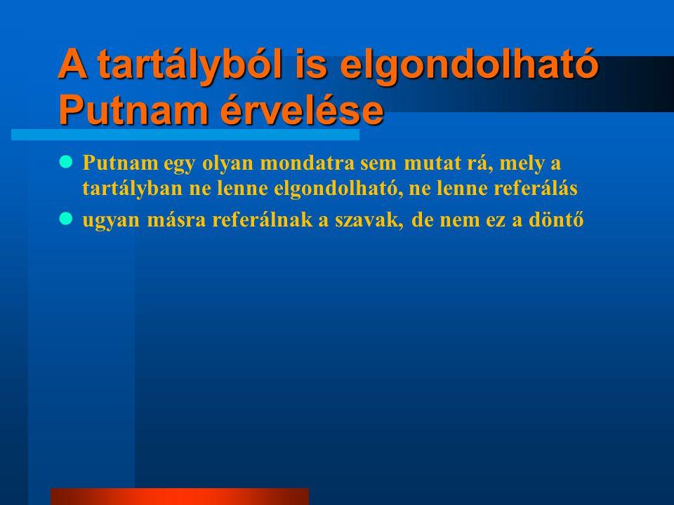 A tartályból is elgondolható Putnam érvelése Putnam egy olyan mondatra sem mutat rá, mely a tartályban ne lenne elgondolható, ne lenne referálás ugyan másra referálnak a szavak, de nem ez a döntő a tartályban is alapos okkal vélekednek úgy, hogy a tartály szavuk referál valamire, ahogy mi